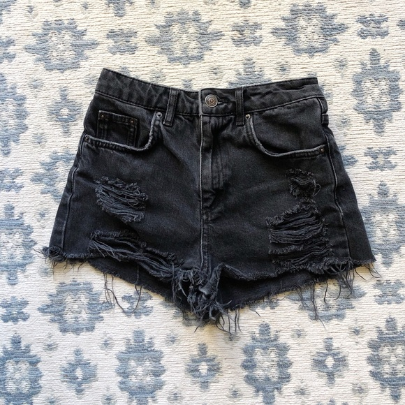 Topshop Pants - TOPSHOP HIGH WAISTED DISTRESSED BLACK SHORTS
